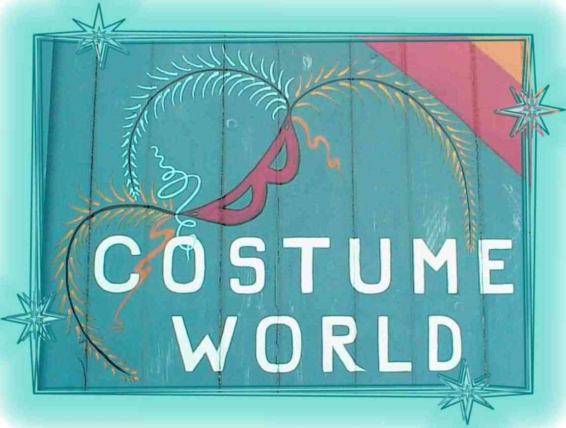 Costume World's logo on the outside of the building.